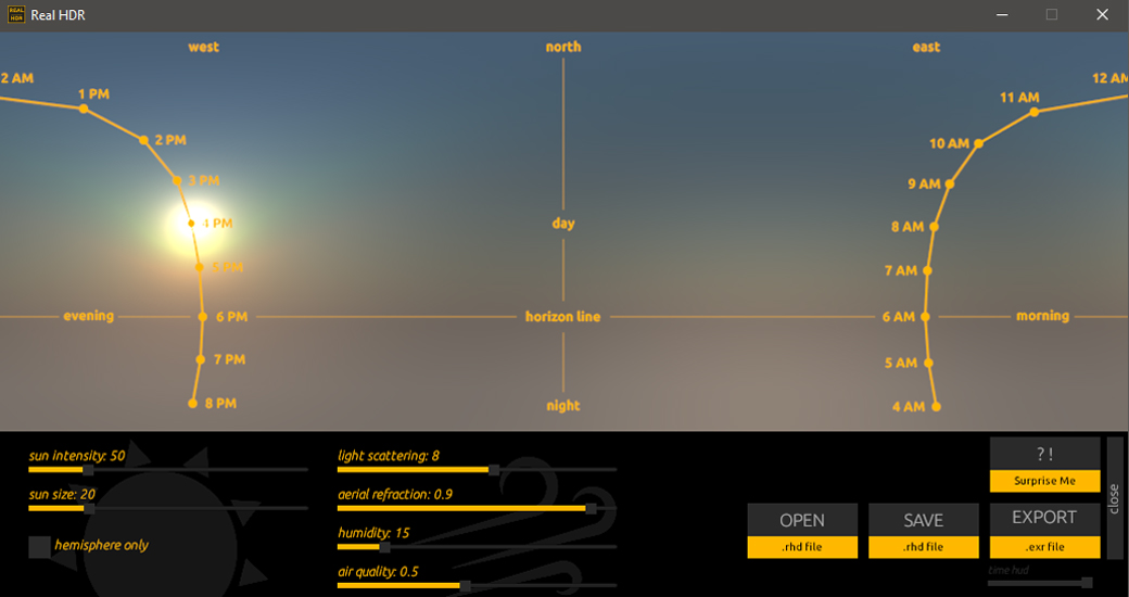 Real HDR SkyLight user interface