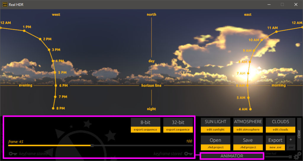 Real HDR SkyLight Animator UI